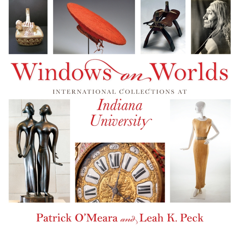"A book cover reads ""Windows on Worlds: International Collections at Indiana University."""