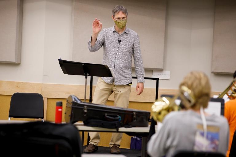 Tom Walsh leads rehearsal