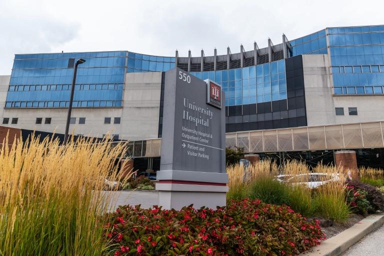 IU Health University hospital main entrance