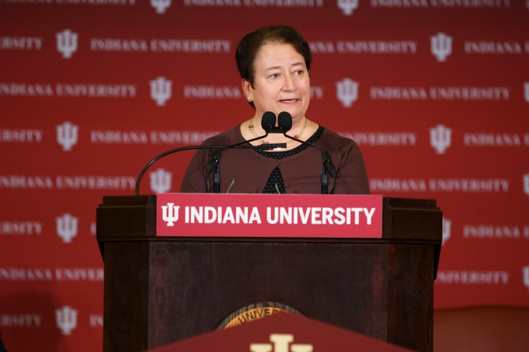 IU Bloomington Provost Lauren Robel speaks at a podium.