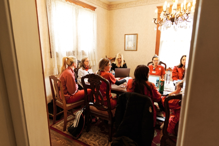 Nursing students meet around a table in Orange County, Indiana