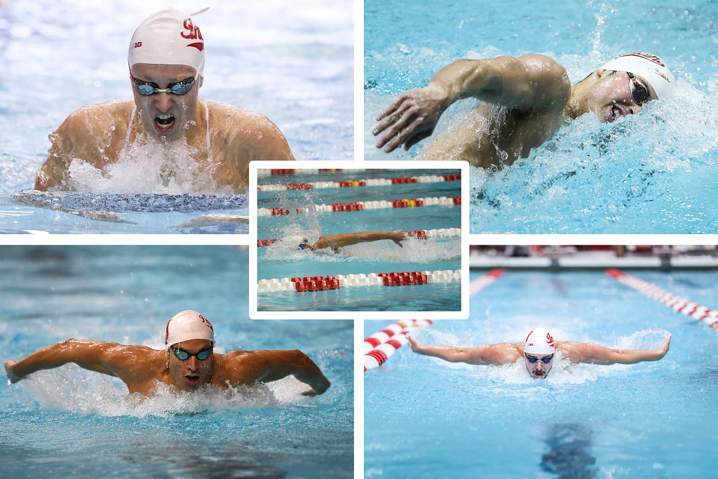A collage of four swimmers: Vini Lanza, Bailey Andison, Marwan El Kamash and Tomer Frankel
