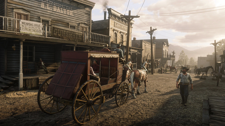 A screenshot of an old western town