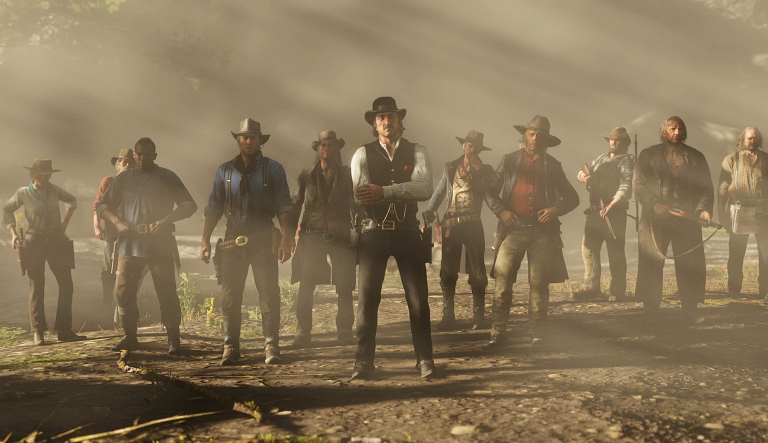 A screenshot of 12 outlaws from Red Dead Redemption