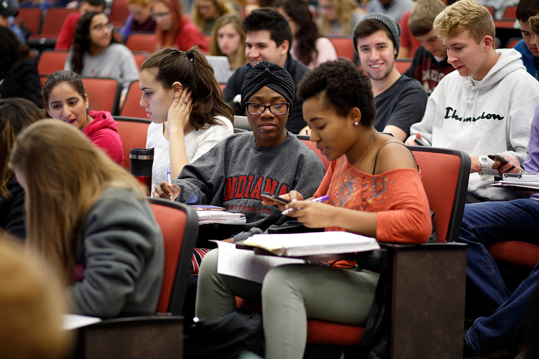 IU students sit in a lecture hall