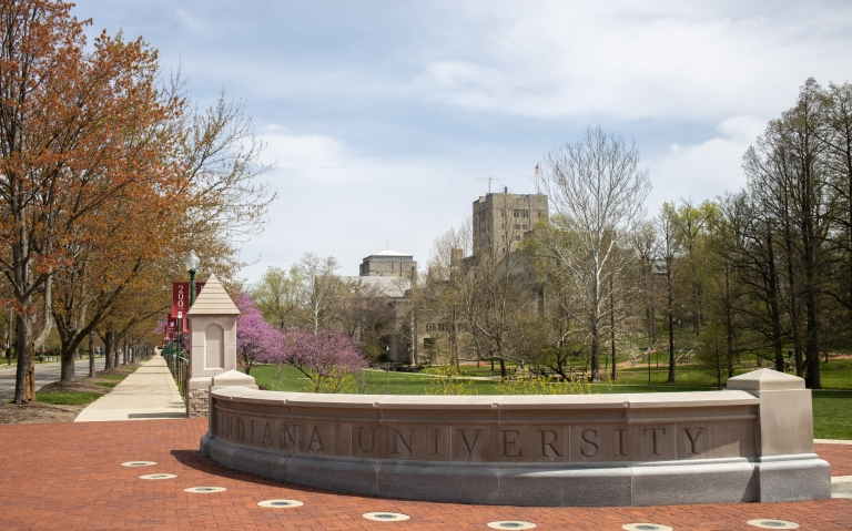 A limestone gateway at IU Bloomington