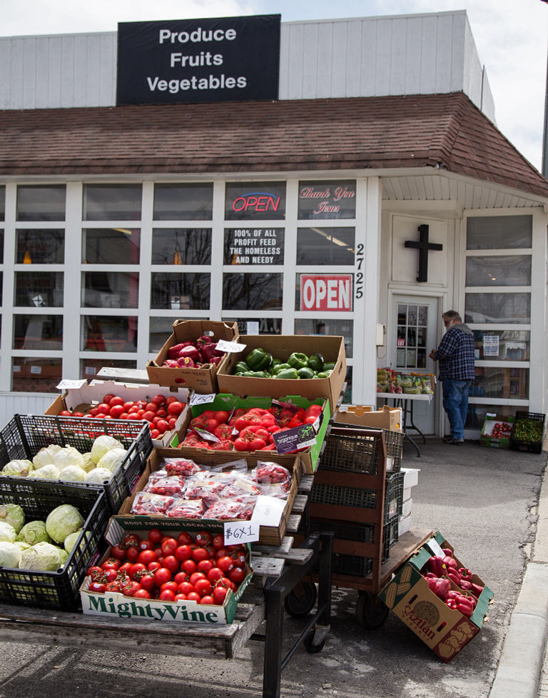 Produce stand in the near west neighborhood