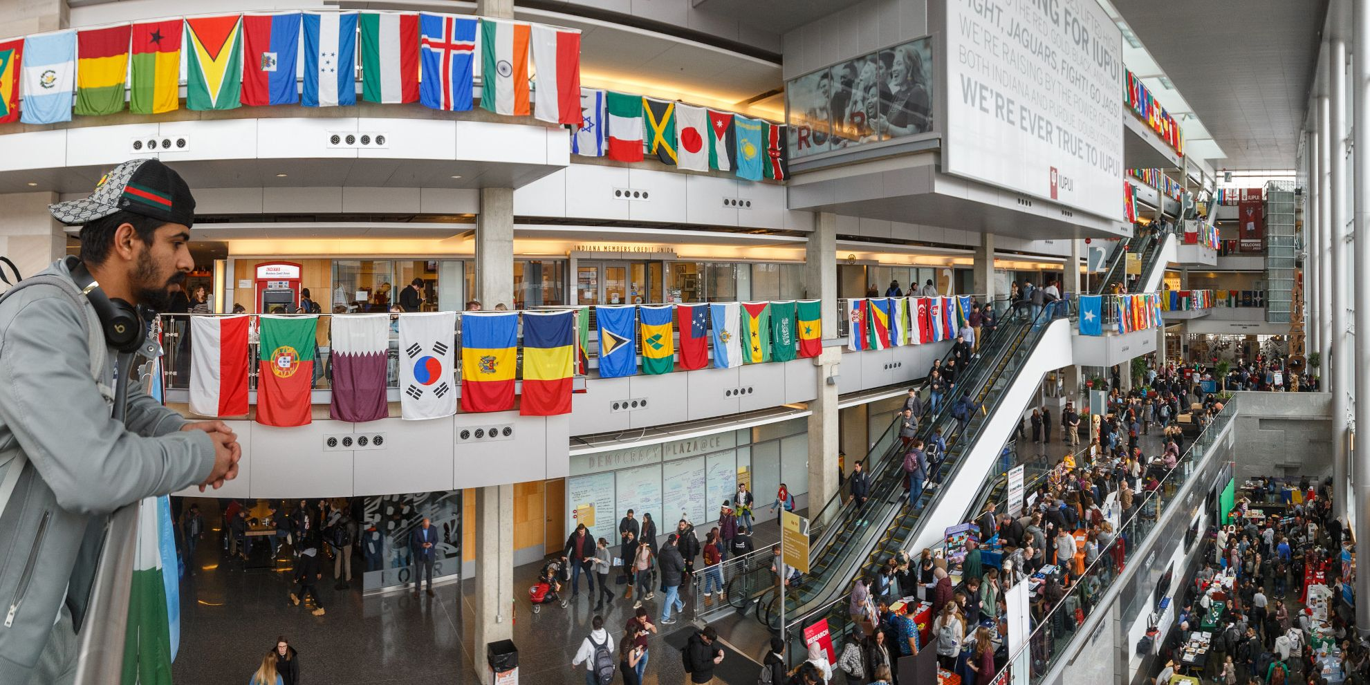 A crowded Campus Center is filled with guests for the International Festival