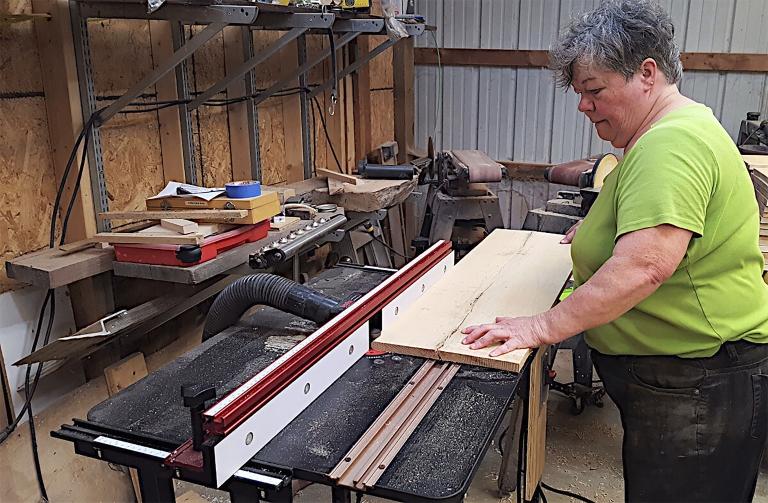IU faculty member Marjorie Treff in her workshop north of Ellettsville