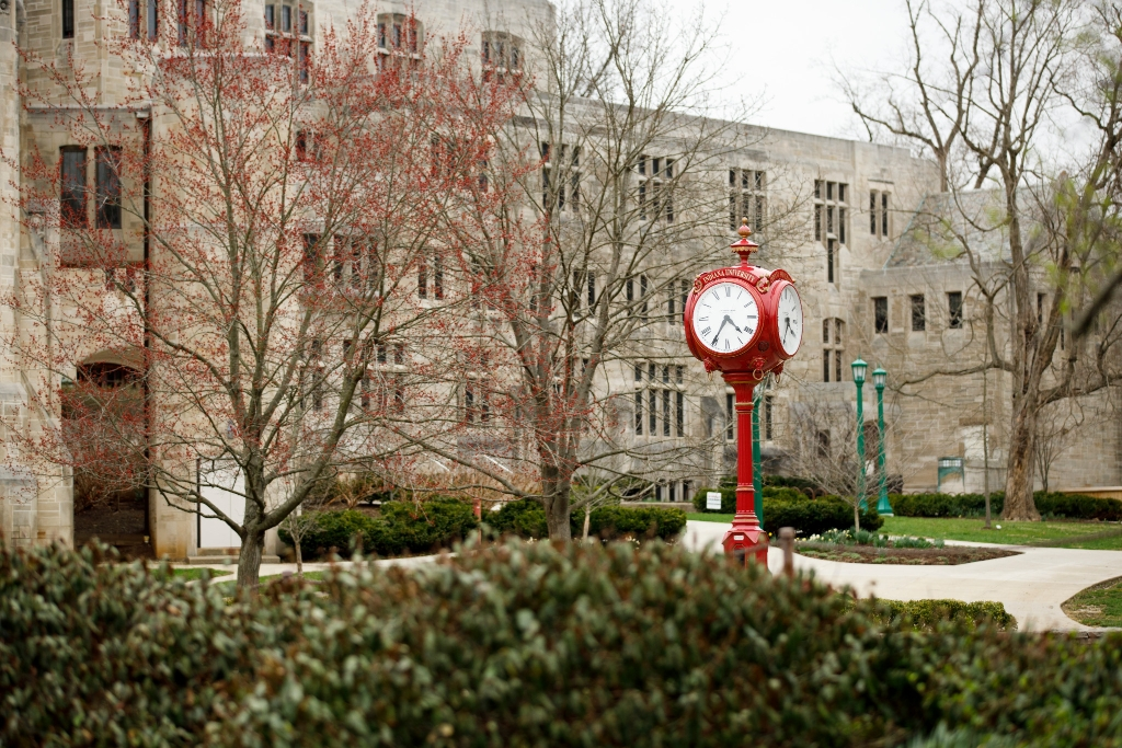 Woodburn clock in the springtime