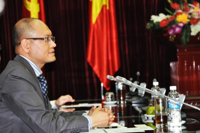 Anh Tran at a meeting in Vietnam
