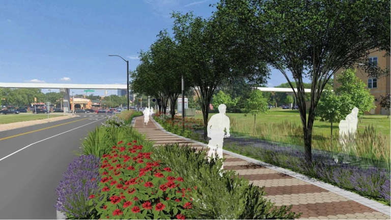 rendering of walking and biking path with trees and other plantings