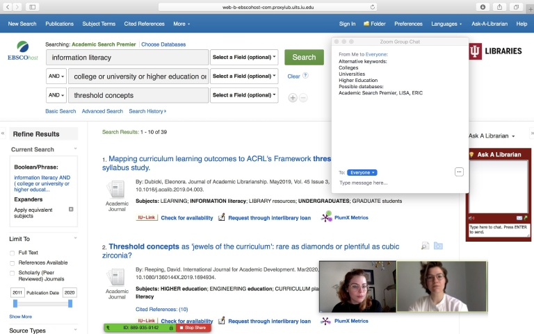 A research assistant consults with a client about a library search during a Zoom meeting