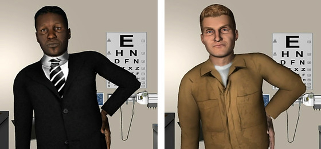 Side-by-side computer simulations of an African American man and a white man posing the same way.