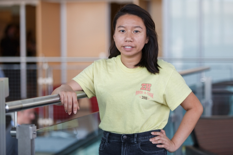 Thi Pham poses for a photo in the IUPUI Campus Center.