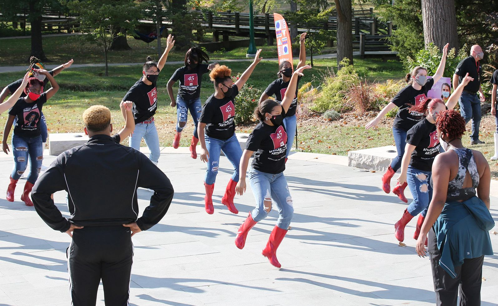 Dancers rehearse outdoors