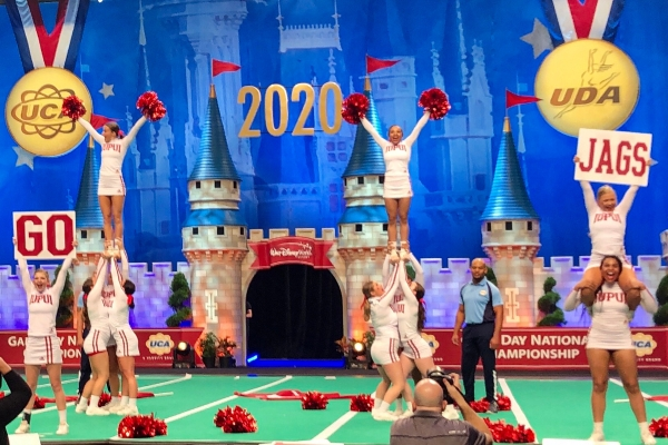 The IUPUI cheer team at nationals in Orlando