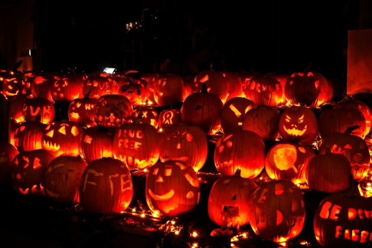 Jack-o'-lanterns are lined up on display in the dark.
