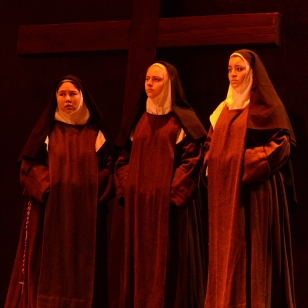 Virginia Mims, center, with nuns