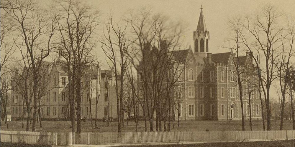 The Seminary Square 'Old College Building' at left, Science Hall at right.