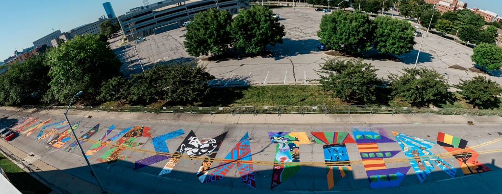 a panoramic view of the Black Lives Matter street art