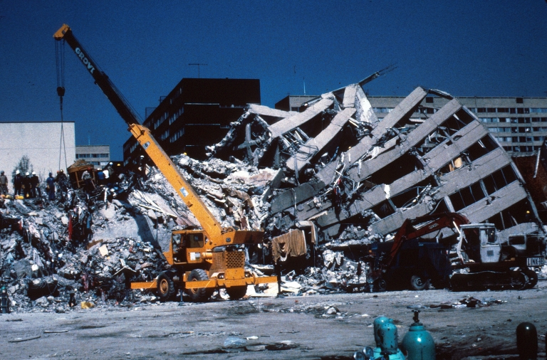 A building collapsed during the 1985 earthquake in Mexico City