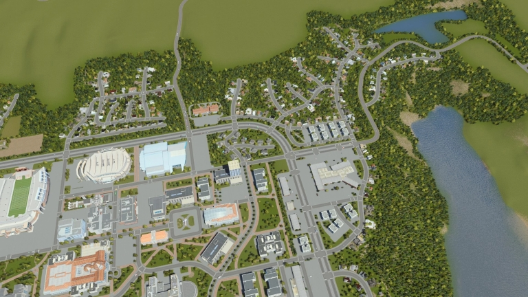 video game view of Bloomington