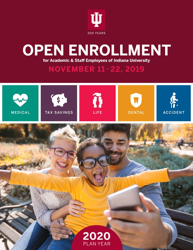 The front cover of the 2019 booklet for open enrollment information