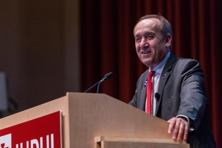Chancellor Nasser H. Paydar speaks at an IUPUI podium