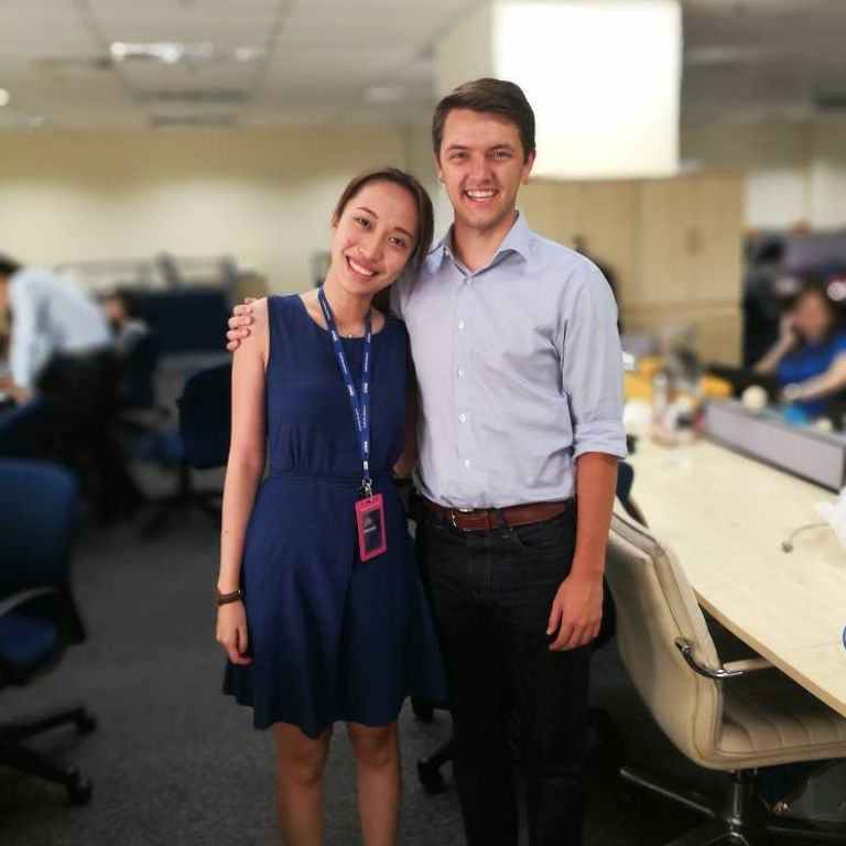 Nick Ceryak and a co-worker in Malaysia