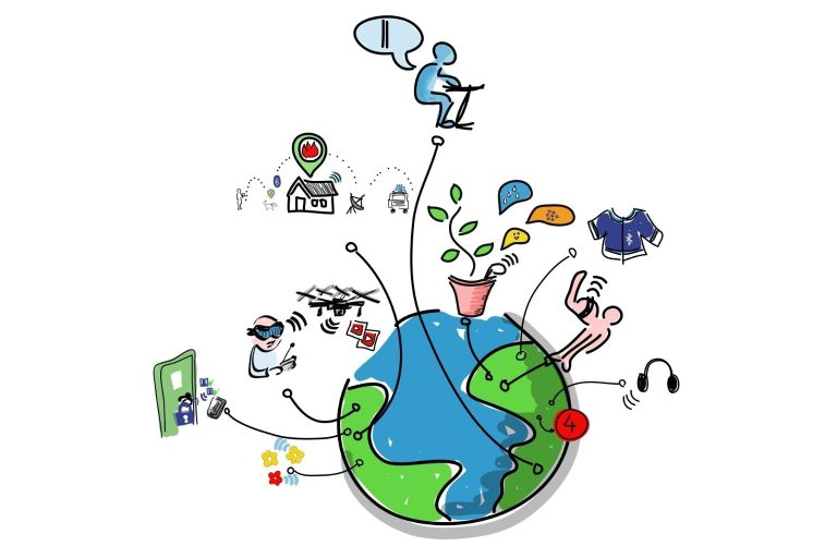 A graphic with a globe surrounded with images depicting scenes related to the internet