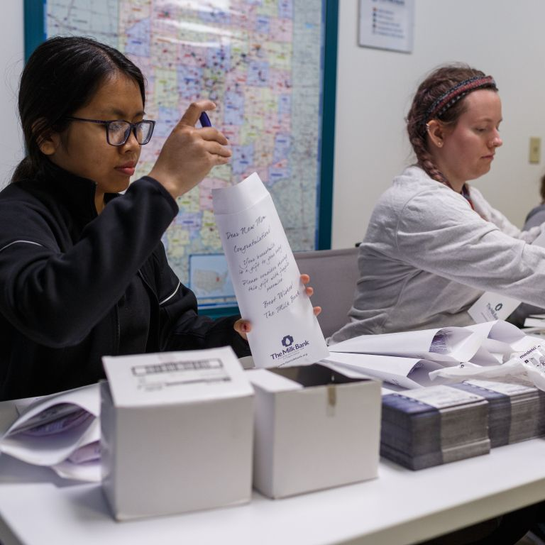 IUPUI students prepare packets for mailing at The Milk Bank during MLK Day of Service 2020.