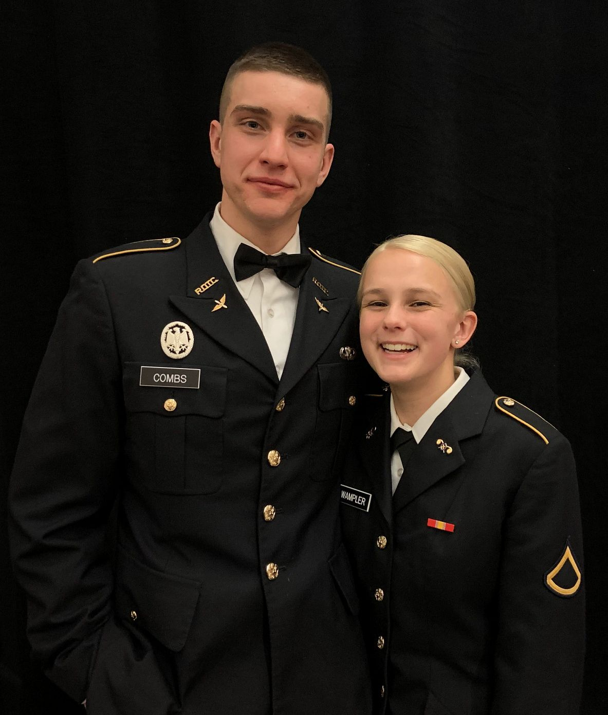 Alex Combs and Kate Wampler in their Army ROTC uniforms