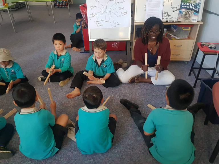 An IU student with children in New Zealand