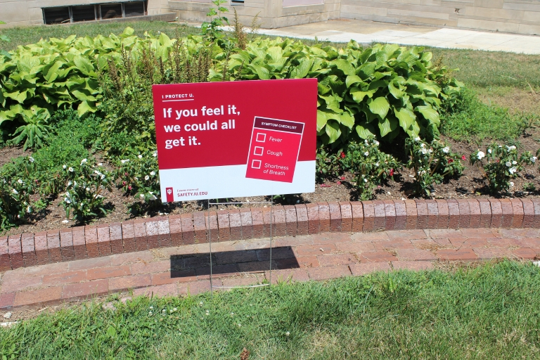 A COVID safety sign posted on the IU Bloomington campus