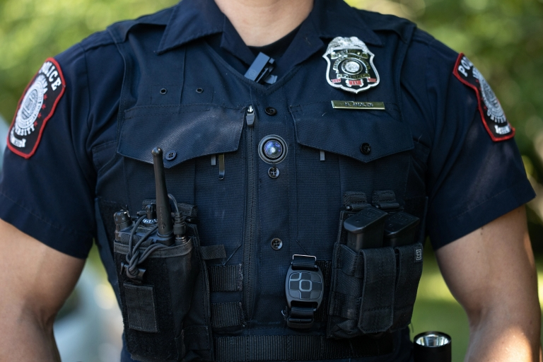Closeup of a police officer's body-worn camera