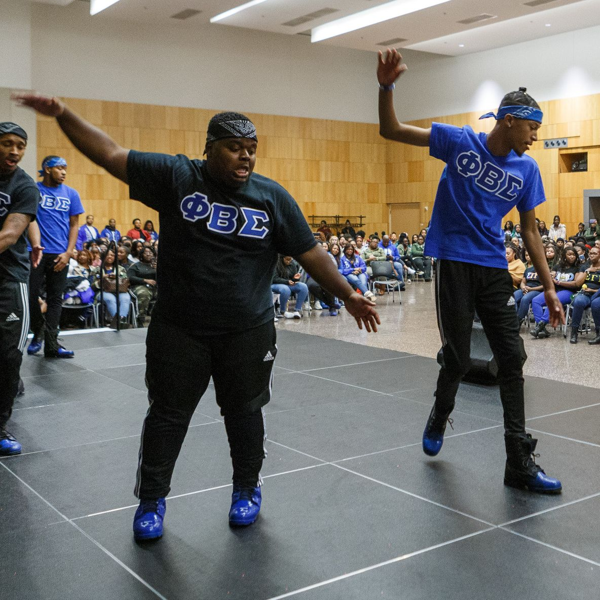 Members of Phi Beta Sigma Fraternity perform during the 2019 NPHC Yard Show