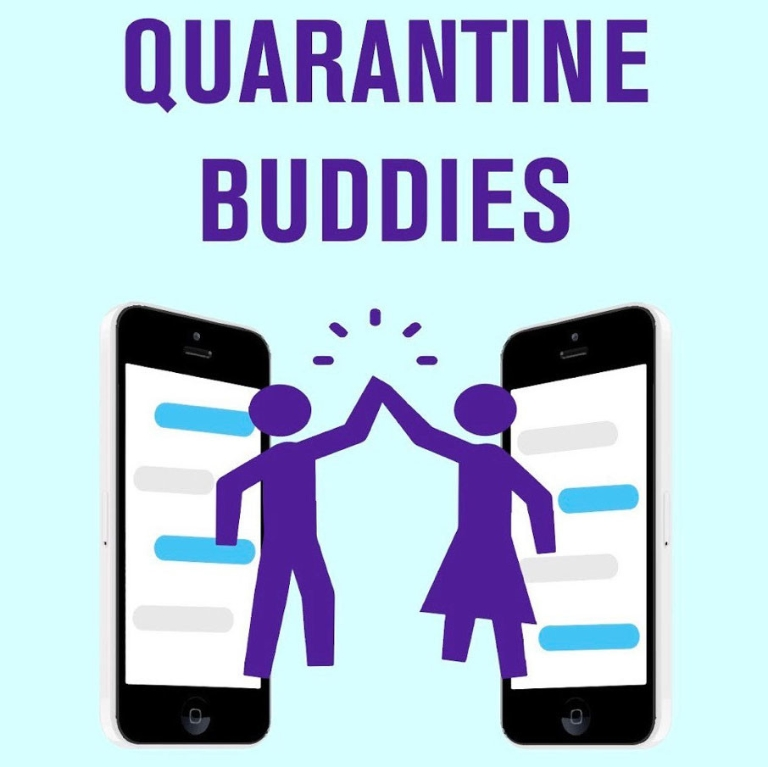"""Graphic art of two people high-fiving next to cellphones with text reading """"Quarantine Buddies"""""""