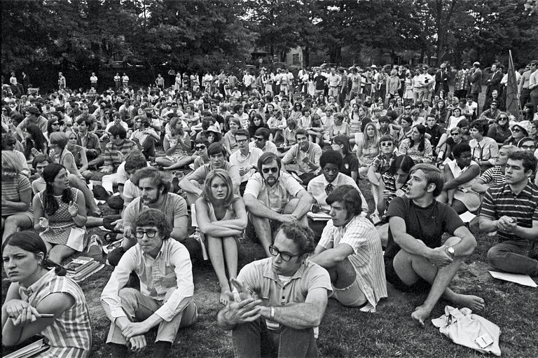 Students protest in Dunn Meadow in 1969