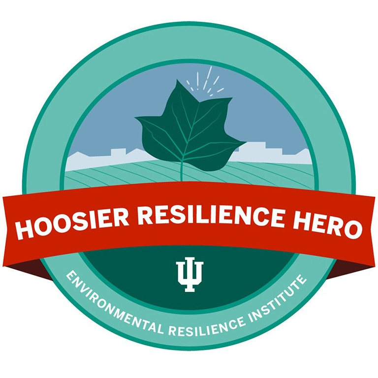 "Logo with words says, ""Hoosier Resilience Hero, Environmental Resilience Institute."""