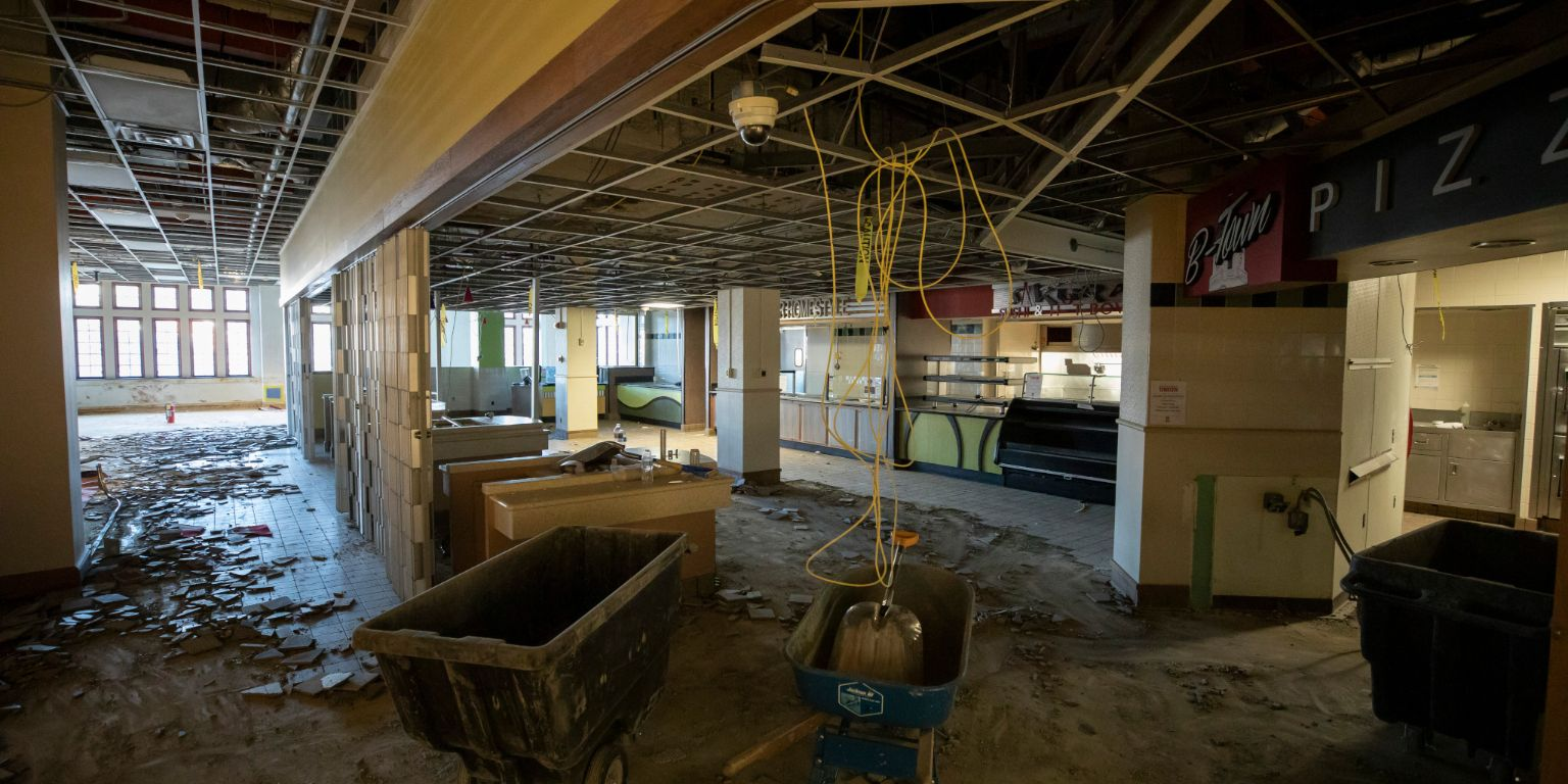 Demolition work for the Indiana Memorial Union dining renovation project.