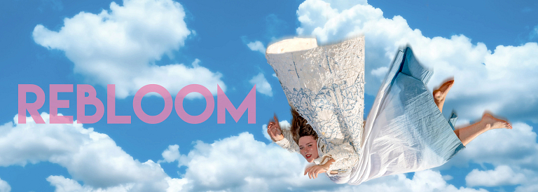 The word rebloom is next to a woman falling from the sky wearing a white and blue dress