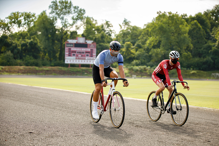 Two riders on bikes at Armstrong Stadium