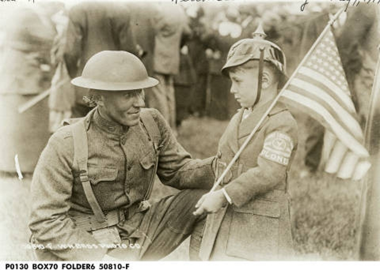 World War I Soldier with Boy on Welcome Home Day