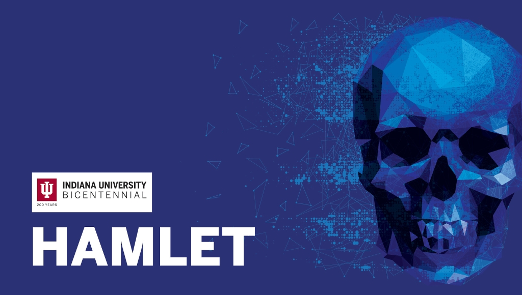 "promotional poster of IU Theatre's 2019 production of ""Hamlet"""