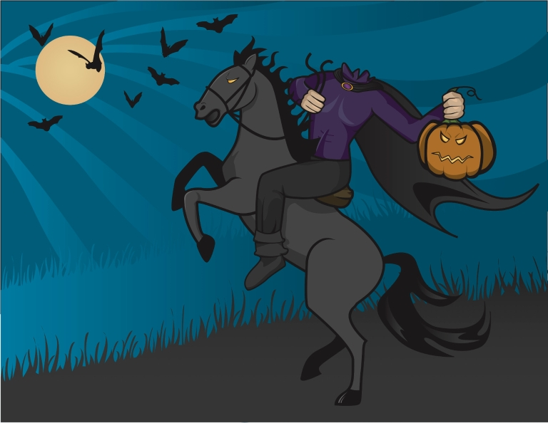 Illustration of the Headless Horseman cloaked and riding a horse, holding his pumpkin head.
