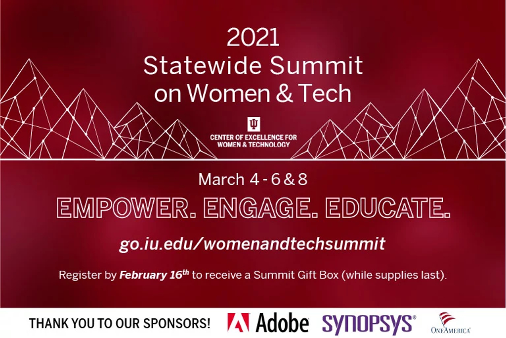 2021 statewide summit on women and tech graphic