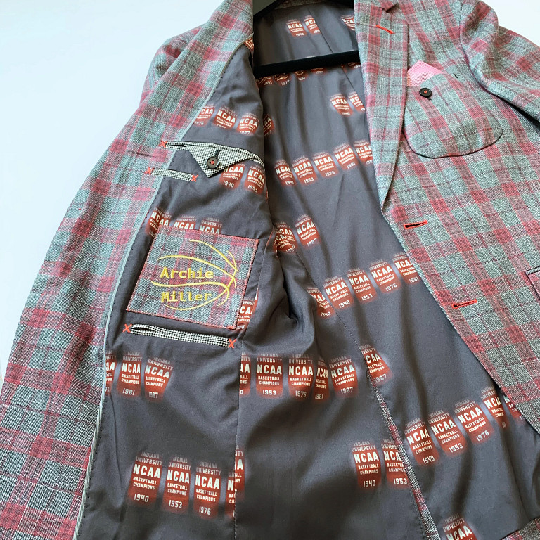 the interior of a jacket for IU men's basketball coach Archie Miller