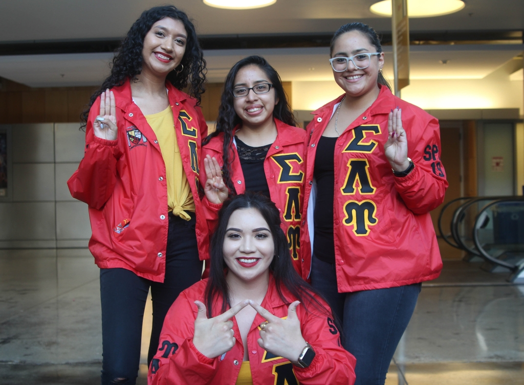 Yoriana Gallegos poses with her sorority sisters.