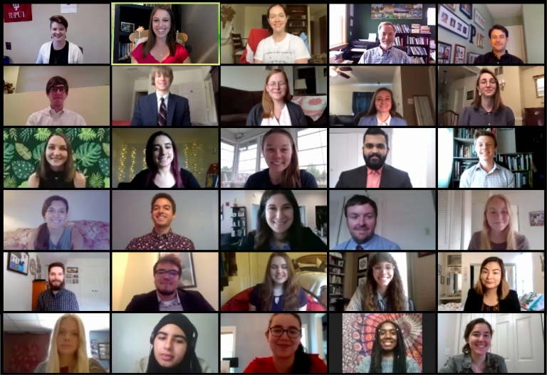 faces of students attending a Zoom meeting